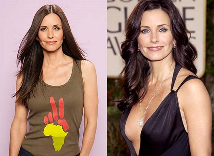Courteney Cox Breast Implants Before and After Photos